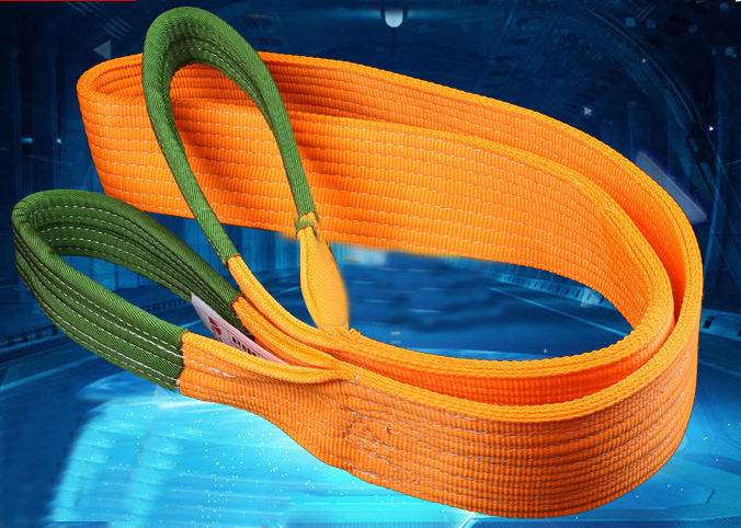 Polyester flat webbing sling with soft protected eyes